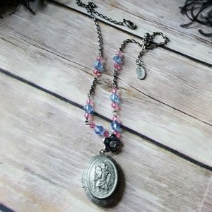 St.Christopher protect us necklace rosary locket